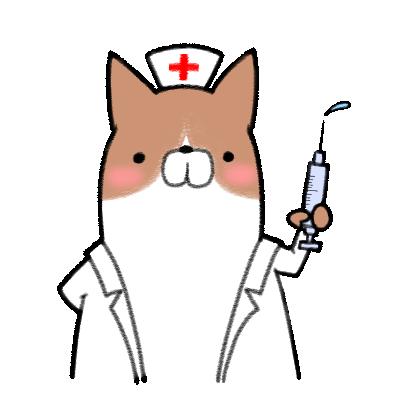 注射器を持った犬